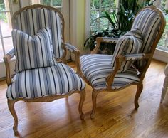 Blue and White Stripe French Chairs - love these!  Fabulous ticking stripe.