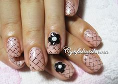 Pink nude quilted design with black flower accents