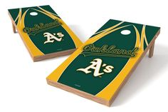 Oakland Athletics Cornhole Board Set - The Edge (w/Bluetooth Speakers)