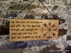 Norse wall plaque, Odin, Thor, Loki, Vegvisir, Viking Compass, Blessing, Runes, Viking Decor, Asatru, Prayer, Altar, Pagan, Heathen, prayer, by Touchwoodcraft on Etsy