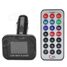 Portable Car Cigarette Lighter Powered SD / TF Card MP3 w/ FM - Black (4 GB Max.)