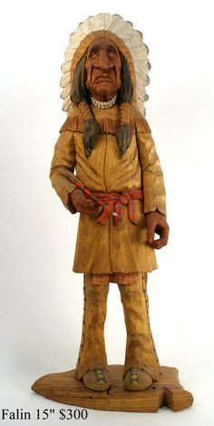 Wood Carved Native American Indian - Unknown Artist