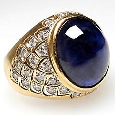 NATURAL BLUE SAPPHIRE CABOCHON & DIAMOND COCKTAIL RING SOLID 18K YELLOW GOLD