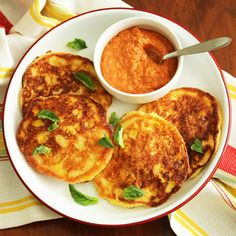 Corn Pancakes with Almond Red Pepper Romesco