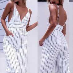 fd730847d01 Sexy Summer Striped Club wear V-Neck Play suit Sleeveless Party Jumpsuit