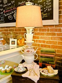 teapots,teacups and saucers as a lamp base!