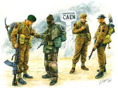 BRITISH ARMY - Commandos Inglesi, Caen, Francia, 1944. Andrey Karashchuk. Box art Master Box