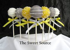 Wedding cake pops-learned how to make gray, mix in a few black chocolate melts in with the white chocolate. I still have a lot to learn about decorating cake pops but they tasted yummy and that's what really matters. -Sarah