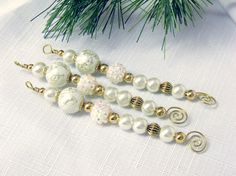 Ivory and Gold Bead Icicle Ornaments  old by CJKingOriginals, $11.00