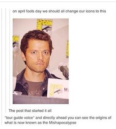 THIS NEEDS TO HAPPEN | Misha Collins, Cas, Castiel, Mishapocalypse, Supernatural, 2014, April Fools