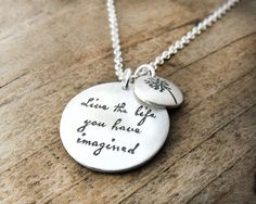 I so, so want this.  Live the life you have imagined  Inspirational by lulubugjewelry, $69.00