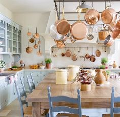 copper pots from the charming E. In the kitchen of Le Mas des Poirers, Avignon, Provence, France Country Kitchen Designs, French Country Kitchens, French Country House, European House, Country Houses, French Farmhouse Decor, French Decor, French Country Decorating, French Kitchen Decor