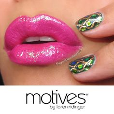 "We love this festive, snake-skin inspired bedazzled nail art ""Dazzling Anaconda"" created by #MotivesMavenMaryam Maquillage using Motives Nail Lacquers in Jaded.  For lips, she used: Motives Lip Crayon in Passion Motives Rich Formula Lipstick in Magenta Motives for La La Mineral Lip Shine in Flirt Motives Glitter Pot in Diamond (Coming soon!)"