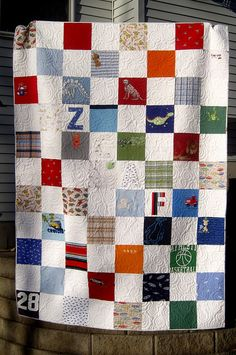 baby clothes quilt, i love the idea of initials in it too