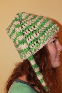 "White and green wool and llama ""elf"" hat by AngelsWool on Etsy"