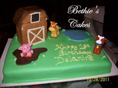 (7th cake) My friend Janice's lil girl's 1st bday cake. The barn was the smash cake. Not perfect but I was still proud of it considering that barn wasn't so easy. LOL