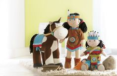 Set up a doll family to cross-promote similar products, accessories and matching dress ups. Soft Dolls, Book Gifts, Pretend Play, Native American Indians, Cowboys, Nativity, Toys, Fun, Wilde Westen