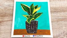 Houseplant   Easy Acrylic Painting for Beginners   Joy of Art #173 Acrylic Painting For Beginners, Simple Acrylic Paintings, Acrylic Painting Canvas, Canvas Art, House Plants, Painting & Drawing, The Creator, Joy, Drawings