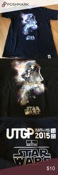 Star Wars shirt featuring Darth Vader Uniqlo black Star Wars T-shirt size large featuring Darth Vader! This design won the global T-shirt design competition 2015. Worn once. Uniqlo Shirts Tees - Short Sleeve