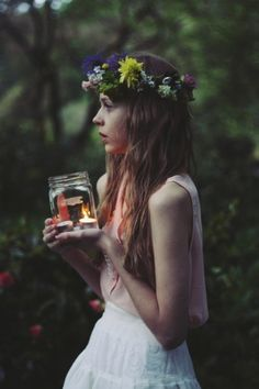 Bring candles in mason jars for dusk! Such a delicate pretty picture. This is an idea for a forest photo shoot. Flower crown and all!
