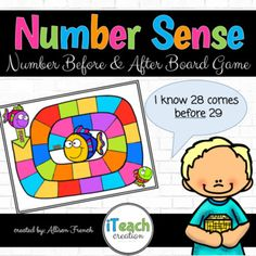 Number Sense Board Game: Numbers Before and After Teacher Tools, Teacher Hacks, Teaching Math, Kindergarten Math, Preschool, Math Clipart, Math Centers, Math Stations, Teacher Notebook