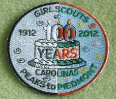 Girl Scouts Carolina Peaks to Piedmont 100th Anniversary patch. Cake patch