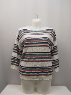 American Living Sweater Size XXL Multi-Color Striped 3/4 Sleeves Scoop Neck Knit #AmericanLiving #ScoopNeck