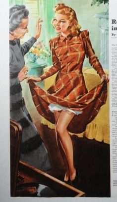 Elmore Brown  40 s Color Illustration    girl lifting up her dress  1940 Collier s Magazine Art