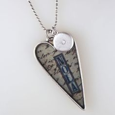 """NOLA Heart Necklace by Heather Elizabeth Designs®. Silver plate. Comes on 22"""" ball chain with rhinestone charm.  $38.00"""