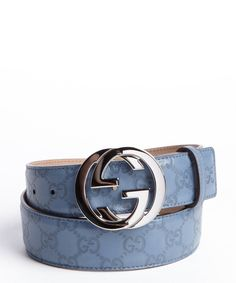 Gucci men's teal leather guccissima double g buckle belt ...
