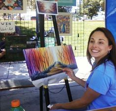 Acrylic demo and art class promotions at Downtown Days in Lee's Summit, Mo by Grumbacher Fine Art Instructor for Michael's in Olathe, Joley Wiley.