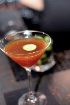 Il Mio Ragazzo (My Italian Boyfriend) 1 1/2 oz  Cynar. 1  oz  Martin Miler's Gin. 1  oz Trader Joe's orange, mango, peach juice. 2  dashes Regan's Orange bitters. Splash Fresh squeezed Lemon Juice. Sicilian sea salted cucumber (for garnish)
