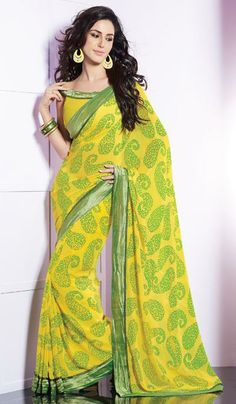 G3 Fashions Yellow green georgette printed designer saree  Product Code : G3-LS13557 Price : INR RS 1448