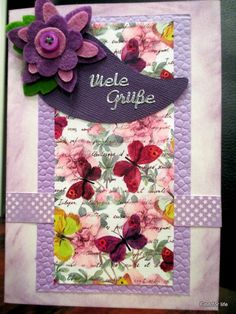 Handmade card with violet and butterflies