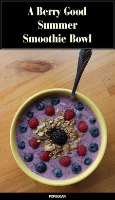 Full of good-for-you ingredients, this mixed berry smoothie bowl is rich in vitamin C and low in calories, and will fill you up and get you going on a hot morning!