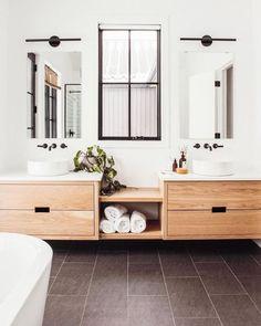 52 Beautiful Modern Bathroom Design You Can Try - Badezimmer Bathroom Renos, White Bathroom, Bathroom Renovations, Bathroom Ideas, Bathroom Vanities, Neutral Bathroom, Ikea Bathroom, Bathroom Inspo, Bathroom Cabinets
