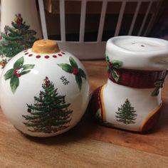 Spode Christmas Tree Salt & Pepper Shakers Stocking & Ornament Green Edge EUC   #Spode On eBay NOW
