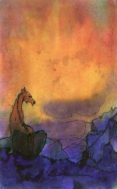 Dinosaur in Primeval Landscape ~ Emil Nolde | Lone Quixote | #EmilNolde #nolde #expressionism #art #painting