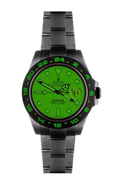 The Bamford Watch Department is proud to announce their latest way of pushing the boundaries of customization: The Super Matte Finish. This stylish non-reflective coating is scratch resistent and puts a unique mark on the ultimate timepiece. This **Bamford** Explorer II Scuba watch features a dark grey steel bracelet with an emerald green dial and bezel infill.