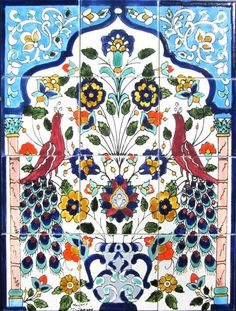 DECORATIVE CERAMIC TILES mosaic panel hand by tunisiandecor, $132.00