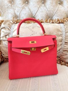 hermes kelly 32 'waffle' pattern rouge hermes box calf phw