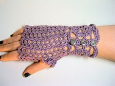 Dusty Lavender Lacy Crochet Gloves -Fingerless with Silver Buttons $25.00