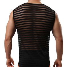 New Man Mesh Striped Transparent Men Sexy Fitness Tank Tops Gay Singlets Mens Bodybuilding Vest 2017 Fashion. Click visit to check price