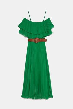 Dress with a straight neckline, thin straps and short sleeves. Robes Midi, Strappy Sandals Heels, Zara Women, Ruffle Trim, Summer Wardrobe, New Dress, Elastic Waist, Party Dress, Cold Shoulder Dress