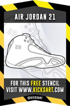 f2a0ad8c127829 This is a FREE sneaker stencil of the Air Jordan 21 available over at  KicksArt.