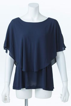 Double Layer Poncho Blouse (Navy)   Cherry Ann Online Shop Cherry Ann, Shirt Blouses, Shirts, Ruffle Blouse, Navy, Shopping, Tops, Women, Fashion