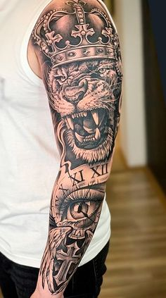 Lion Forearm Tattoos, Mens Lion Tattoo, Forarm Tattoos, Tribal Tattoos, I Tattoo, Sleeve Tattoos, Tatoos, Full Sleeve Tattoo Design, Lion Tattoo Design