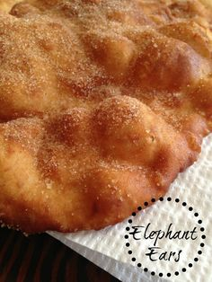 Elephant Ears Funnel Cake funnel cake or elephant ear Donut Recipes, Cookie Recipes, Dessert Recipes, Bread Recipes, Cinnamon Recipes, Pastry Recipes, Baking Recipes, Elephant Ears Recipe, Fried Bread Recipe