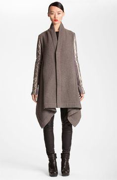 Rick Owens Metallic Leather Sleeve Flannel Coat available at #Nordstrom