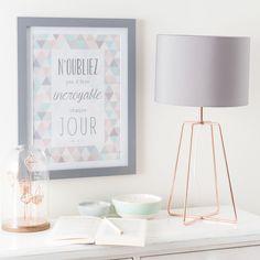 Lampe CROSSY COPPER aus Metall mit Lampenschirm aus grau Stoff, H 49 cm, kupferfarben